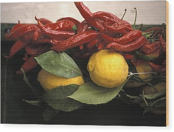 Lemons And Dried Red Peppers  For Sale Wood Print by Richard Nowitz
