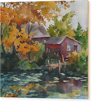 Lily Pond Wood Print by Art Scholz