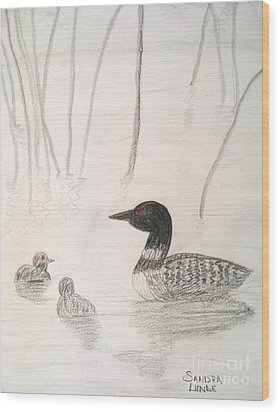 Loon Float Wood Print by Sandra Lunde