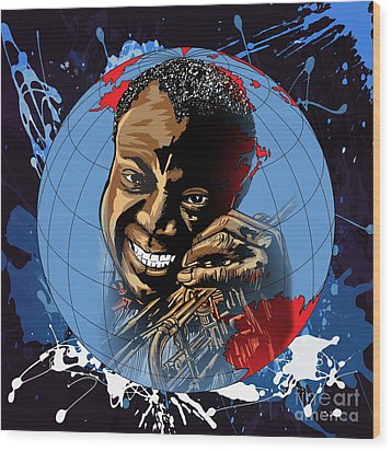 Wood Print featuring the painting  Louis. by Andrzej Szczerski