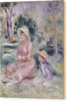 Madame Renoir And Her Son Pierre Wood Print by Pierre Auguste Renoir