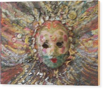Mardi Gras Mask Dedicated To Linda Lane-bloise  Wood Print by Anne-Elizabeth Whiteway