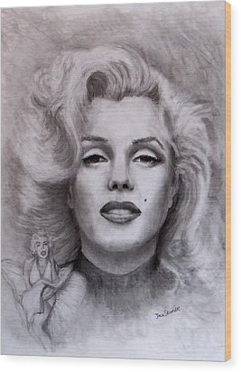 Wood Print featuring the drawing  Marilyn by Jack Skinner