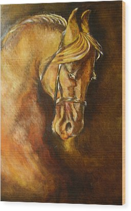A Winning Racer Brown Horse Wood Print by Remy Francis
