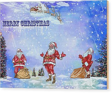Wood Print featuring the painting  Merry Christmas To My Friends In The Faa by Andrzej Szczerski