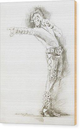Michael Jackson Live Wood Print by David Lloyd Glover
