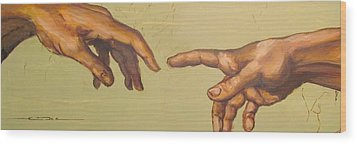 Michelangelos Creation Of Adam 1510 Wood Print