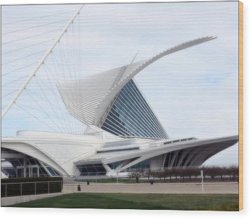 Wood Print featuring the photograph  Milwaukee Art Museum by Kay Novy