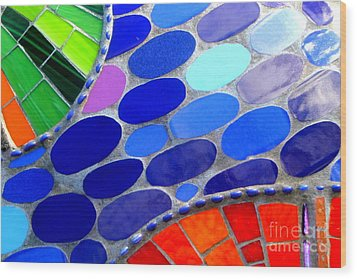 Mosaic Abstract Of The Blue Green Red Orange Stones Wood Print