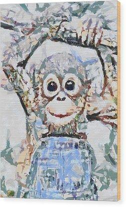 Monkey Rainbow Splattered Fragmented Blue Wood Print