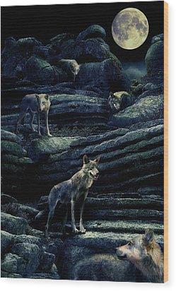Moonlit Wolf Pack Wood Print by Mal Bray