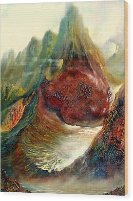 Wood Print featuring the painting  Mountains Fire by Henryk Gorecki