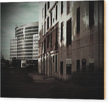 Old Mills And New Offices Wood Print by Kat Loveland