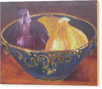 Onion Paintings - Rustic Bowl With Onions Virgilla Art Wood Print by Virgilla Lammons