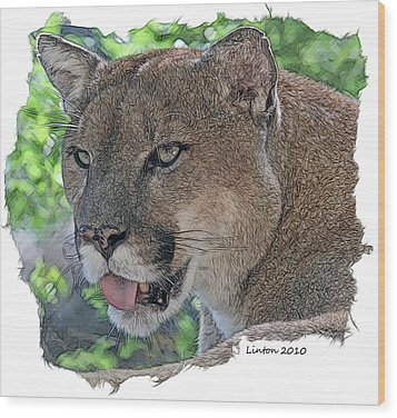 Panther 2 Wood Print by Larry Linton
