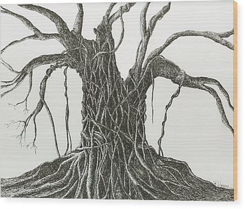Wood Print featuring the drawing  Patience by Rachel Hames