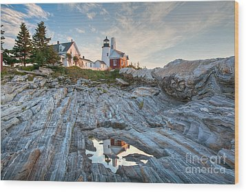 Pemaquid Point Reflection Wood Print by Susan Cole Kelly
