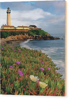 Pigeon Point Lighthouse With Spring Wildflowers Wood Print by George Oze
