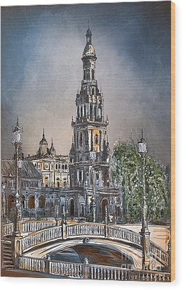 Wood Print featuring the painting  Plaza De Espana In Seville by Andrzej Szczerski