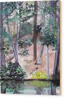 Wood Print featuring the painting  Plein Aire Durand Park by Judy Via-Wolff