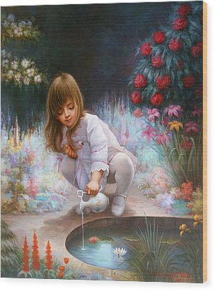 Pond And Girl Wood Print