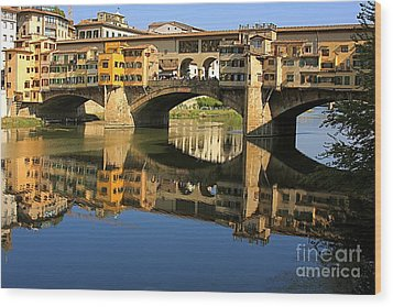 Ponte Vecchio Reflection Wood Print