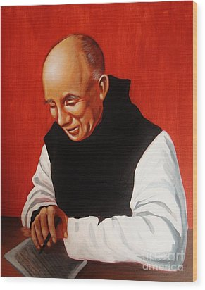 Portrait Of Thomas Merton Wood Print by Joseph Malham