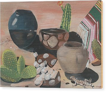 Pottery In The Desert Wood Print by Aleta Parks