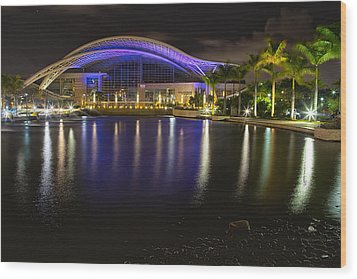 Puerto Rico Convention Center At Night Wood Print by George Oze
