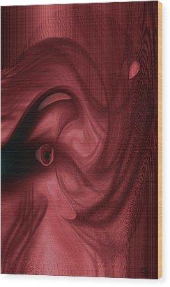 Red Elephant  Wood Print by Linda Sannuti