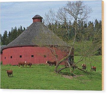 Round Red Barn Wood Print