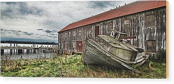 Salmon Cannery Wood Print by DMSprouse Art