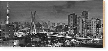 Sao Paulo Iconic Skyline - Cable-stayed Bridge - Ponte Estaiada Wood Print