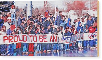 School Children Holding Sign - Olympic Torch Passing Wood Print by Steve Ohlsen