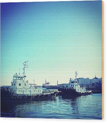 #船 #海 #ships #sea #sky Wood Print by Bow Sanpo
