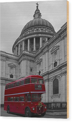 St Pauls Cathedral Red Bus Wood Print