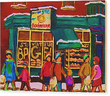 St. Viateur Bagel Family Bakery Wood Print by Carole Spandau