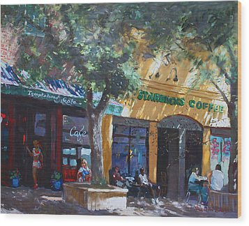 Starbucks Hangout Wood Print by Ylli Haruni