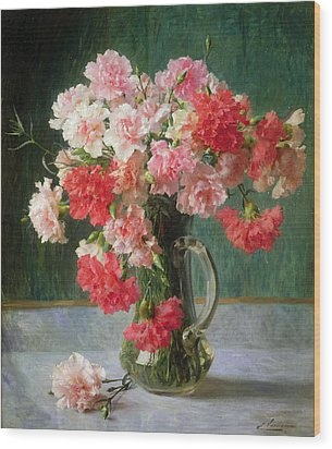Still Life Of Carnations   Wood Print by Emile Vernon