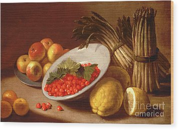 Still Life Of Raspberries Lemons And Asparagus  Wood Print