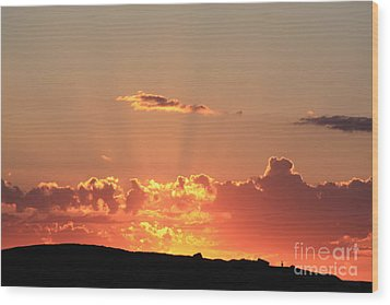 Wood Print featuring the photograph  Sunset by Edward R Wisell