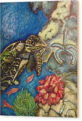Sweet Mystery Of The Sea A Hawksbill Sea Turtle Coasting In The Coral Reefs Original Wood Print by Kimberlee Baxter
