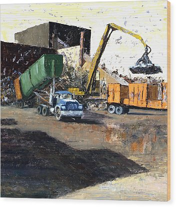 The Blue Truck Wood Print by Nancy Albrecht