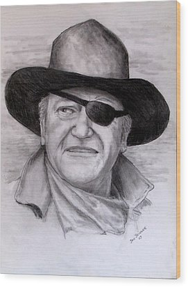 Wood Print featuring the drawing  The Duke by Jack Skinner