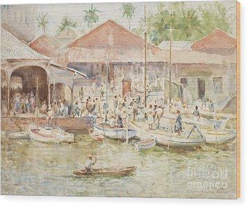 The Market Belize British Honduras Wood Print by Henry Scott Tuke