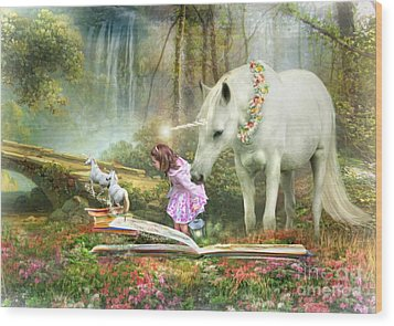 Wood Print featuring the digital art  The Unicorn Book Of Magic by Trudi Simmonds