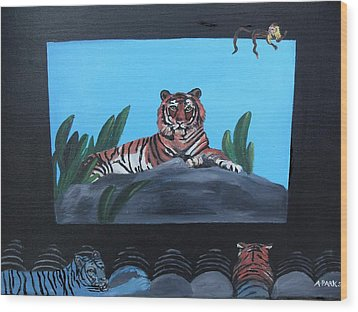 Tiger Show Wood Print by Aleta Parks
