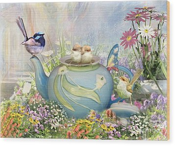 Wood Print featuring the digital art  Tiny Tea Party by Trudi Simmonds