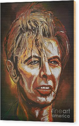 Wood Print featuring the painting  Tribute To David by Andrzej Szczerski