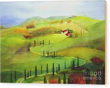 Tuscany Wood Print by Maryann Schigur